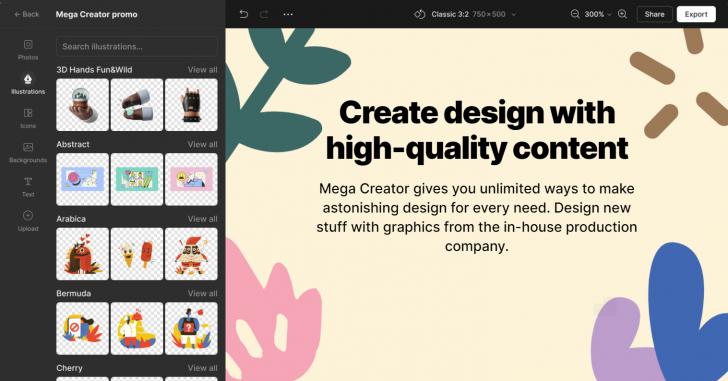 โปรแกรมออกแบบกราฟิกออนไลน์ พร้อมสต๊อกวัตถุดิบ Icons8 Mega Creator