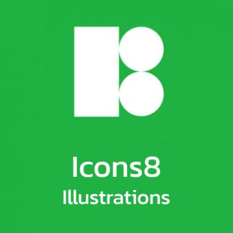 Icons8 Illustrations สต๊อกภาพวาด ความละเอียดสูง สำหรับงานกราฟิก หรือประกอบคลิปวิดีโอ ดาวน์โหลดได้ 25 ภาพต่อเดือน มาพร้อมโปรแกรมฟรี Lunacy ออกแบบงานกราฟิก