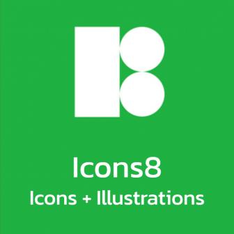 Icons8 Icons + Illustrations สต๊อกภาพไอคอน และภาพวาดประกอบคุณภาพสูง สำหรับงานกราฟิก ออกแบบ UI หรืองานตัดต่อวิดีโอ มีปลั๊กอินให้เรียกใช้ไอคอน ได้ง่าย